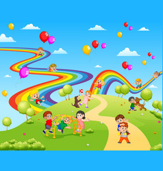 Beautiful view full the children playing together vector