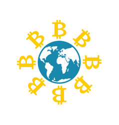 bitcoin in world cryptocurrency and earth vector image