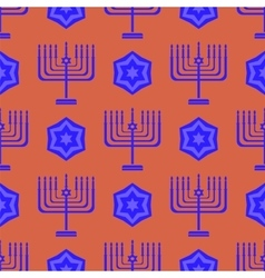 Blue David Star Menorah Seamless Background vector