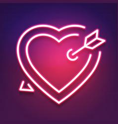 bright heart neon sign retro neon heart sign vector image