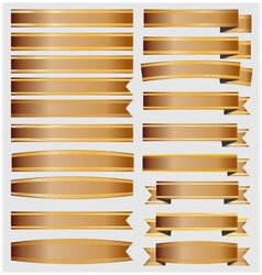 bronze ribbons and banners with gold vector image