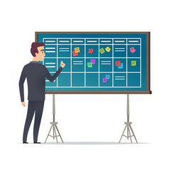 business schedule board businessman standing near vector image