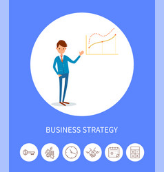 Business strategy businessman with charts icons vector