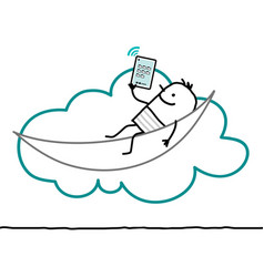 Cartoon characters and cloud - leisure vector