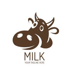 cartoon cow logo cow icon mascot character cow vector image