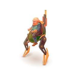 cartoon engineer dwarf mechanic character vector image