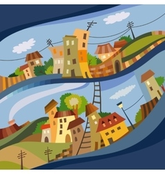 Cartoon flat style city vector image