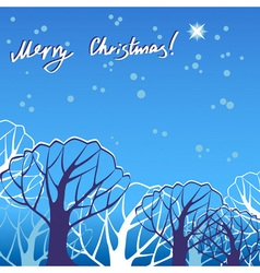 Christmas trees in snow vector image