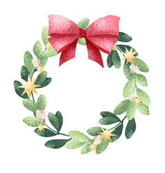 Christmas wreath with bow vector