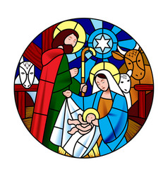 Circle shape with the birth of jesus christ scene vector