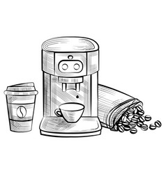 coffee machine and plastic cup with bean logo vector image