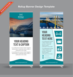 creative blue and white rollup banner vector image