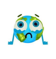 cute cartoon unhappy earth planet emoji humanized vector image