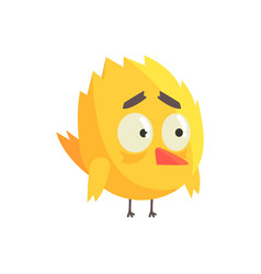 Cute little yellow upset chick bird standing vector