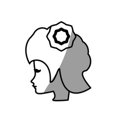 cute profile woman avatar flower vector image