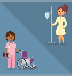 Doctor nurse character medical woman staff vector