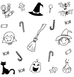 Doodle of halloween candy and face vector
