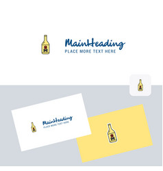 drink bottle logotype with business card template vector image