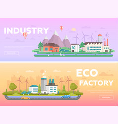 eco factory - set of modern flat design style vector image
