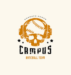 emblem college baseball team vector image