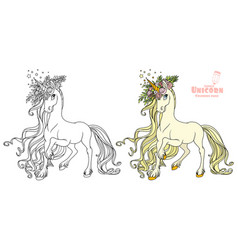 Fairytale unicorn in a magnificent wreath of vector