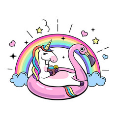 Fantasy unicorn on flamingo inflatable circle vector