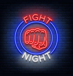 Fighting night logo neon sign isolated vector
