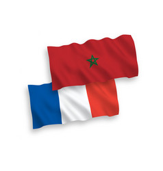 Flags france and morocco on a white background vector