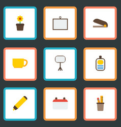 flat icons board stand plant pot highlighter vector image
