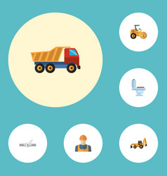 flat icons van worker excavator and other vector image