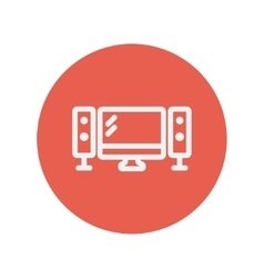 Flat screen television with speaker thin line icon vector image
