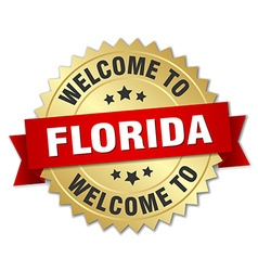Florida 3d gold badge with red ribbon vector
