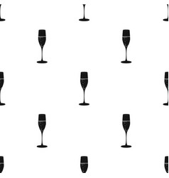 Glass of champagne icon in black style isolated on vector