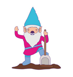 gnome with colorful costume and shovel with purple vector image