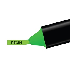 Green felt pen with nature word vector