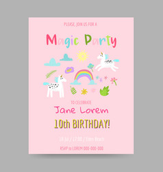 greeting card with cute magic unicorns rainbow vector image