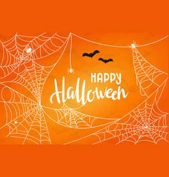 Halloween background with cobweb happy vector