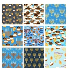 Hanukkah seamless pattern set vector image