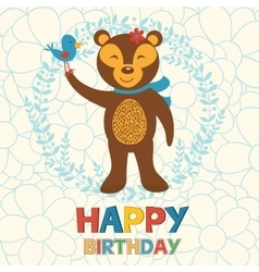 Happy birthday card with happy bear and bird vector image