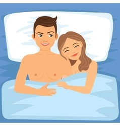 Happy couple in bed vector image