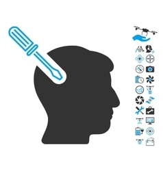 Head Surgery Screwdriver Icon With Copter Tools vector