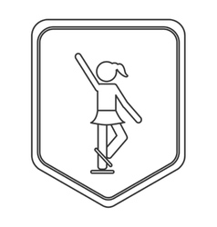 Ice skating pictogram icon shield emblem vector