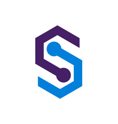 letter s connection logo icon vector image