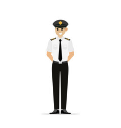 man with pilot uniform in flat vector image