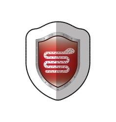 Middle shadow sticker of snake virus in shield vector