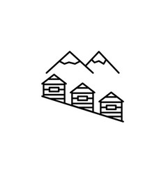 mountain house outline icon element of winter vector image