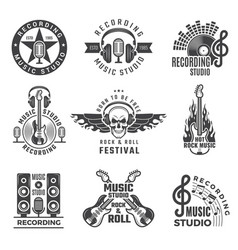 Music labels microphone big speaker drums and vector