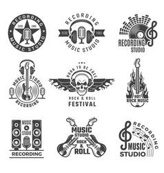 music labels microphone big speaker drums vector image