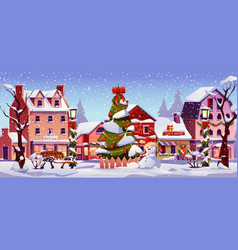 new year street in snow christmas city landscape vector image