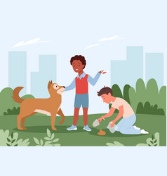 people cleanup poo after dog pet standing on city vector image